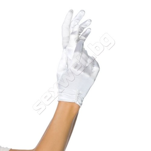 Satin wrist length gloves with pearl det
