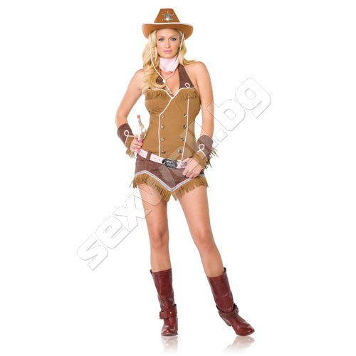 4PC. Quickdraw Cowgirl TAN/BROWN S/M