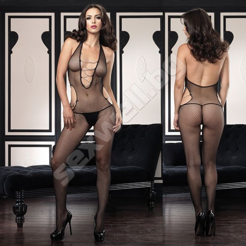 Halter fishnet cut out bodystocking with