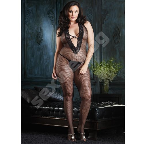 Halter Bodystocking With Deep Lace V