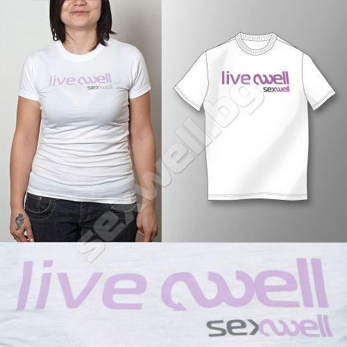 White t-shirt live well XL for women