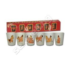 Shot glasses with sex positions, 6 pcs