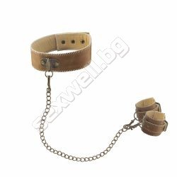 Collar with handcuffs, premium leather