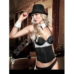 Microfiber and lace bustier black/pink