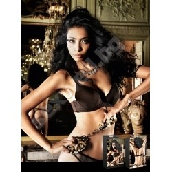 Brown Padded Underwire Ribbon Bra, 36DD
