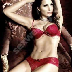 Red Padded Lace Underwire Bra