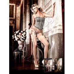 Lace and mesh bustier and G-string set