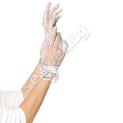 Lace wrist length gloves with mini flowe