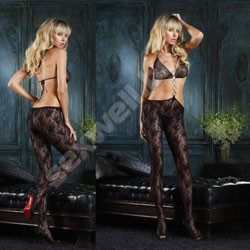 Lace bodystocking, bikini top and center