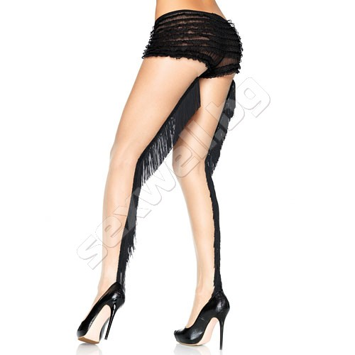 Spandex sheer pantyhose with fringe back