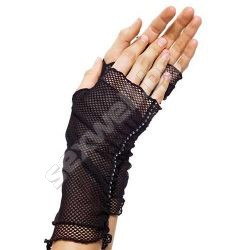 Fishnet fingerless gloves with faux rhin