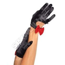 Satin cut out cropped gloves with velvet