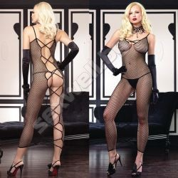 Fishnet long dress with criss cross peek