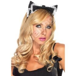 Lace trimmed maid kitty ear headband BLK