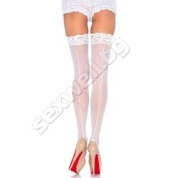 Sheer stockings with backseam, lace top