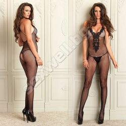 Crotchless Bodystocking With Embroidery
