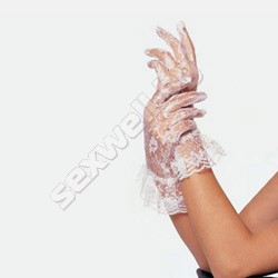 Lace wrist length ruffle gloves