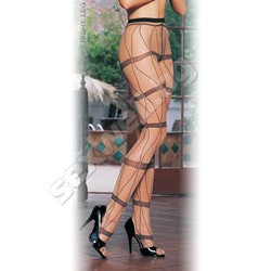 Lycra Sheer Faux Criss Cross Lace Up Pan