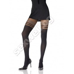 Opaque Sheer Pantyhose w/ Dual Stripes