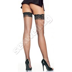 Fishnet stockings with silicone lace top