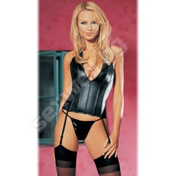 Wet look halter corset with lace thong