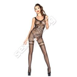 Crotchless bodystocking with wide straps