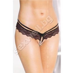 Crotchless G-string with strap and lace