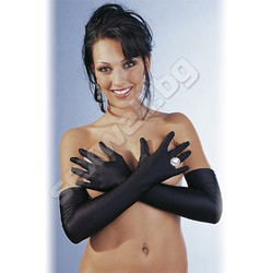 Satin look elbow gloves